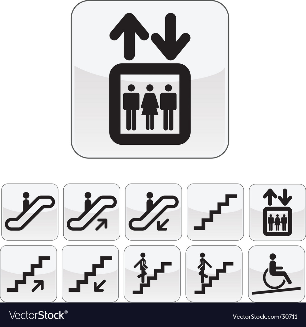 Stairs directions icon set vector image