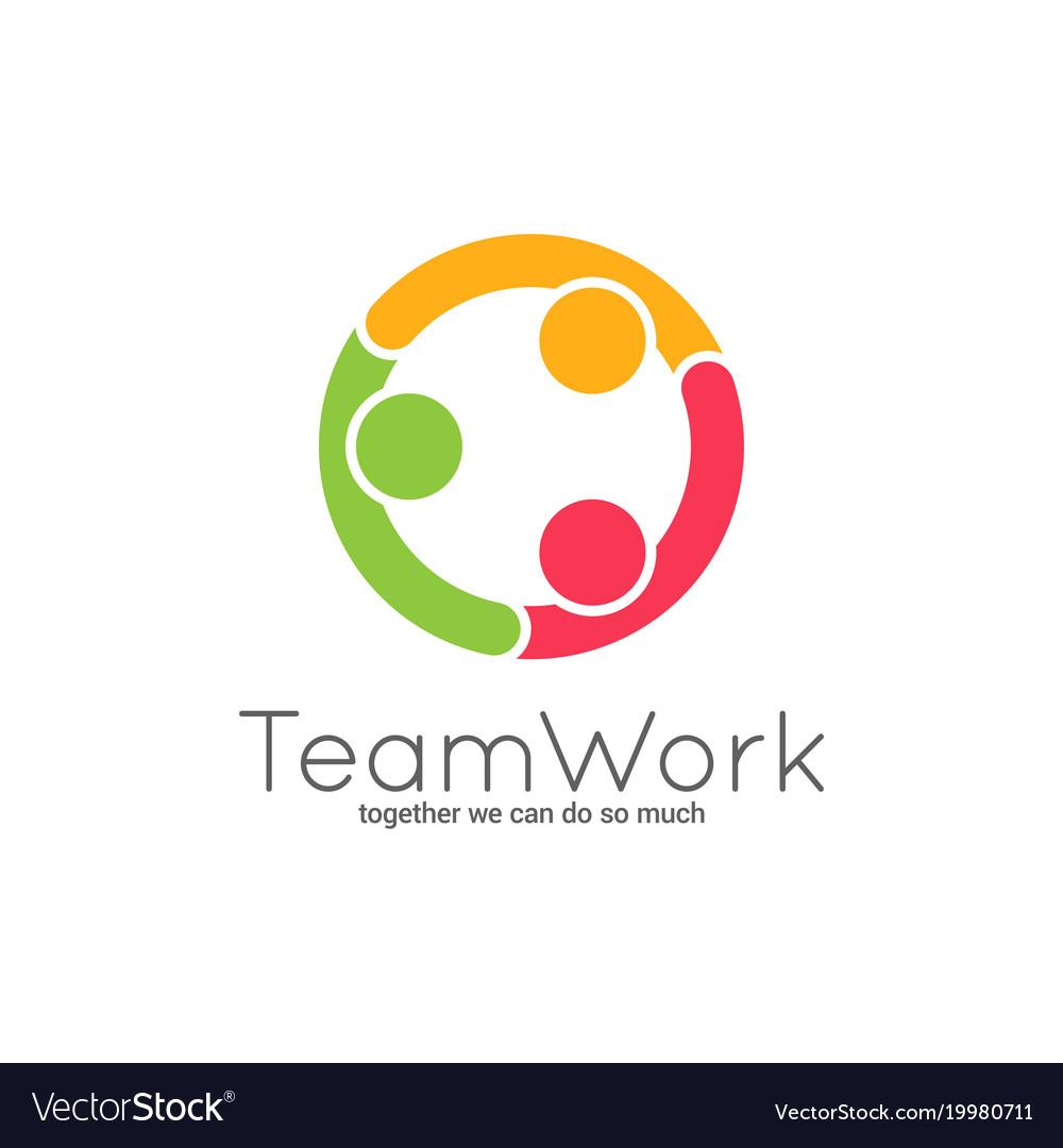 Teamwork logo team union on white background