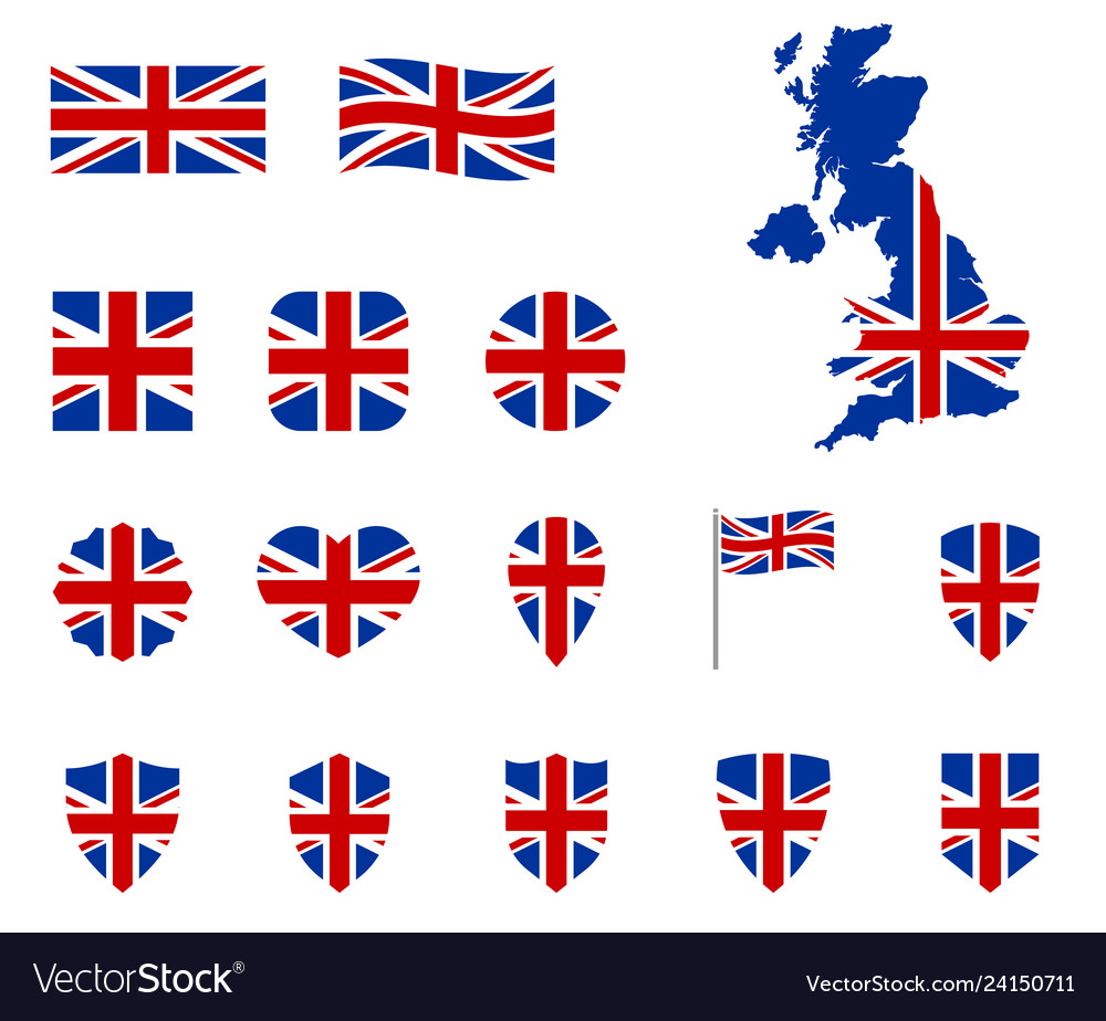 United kingdom flag icons set national symbol of