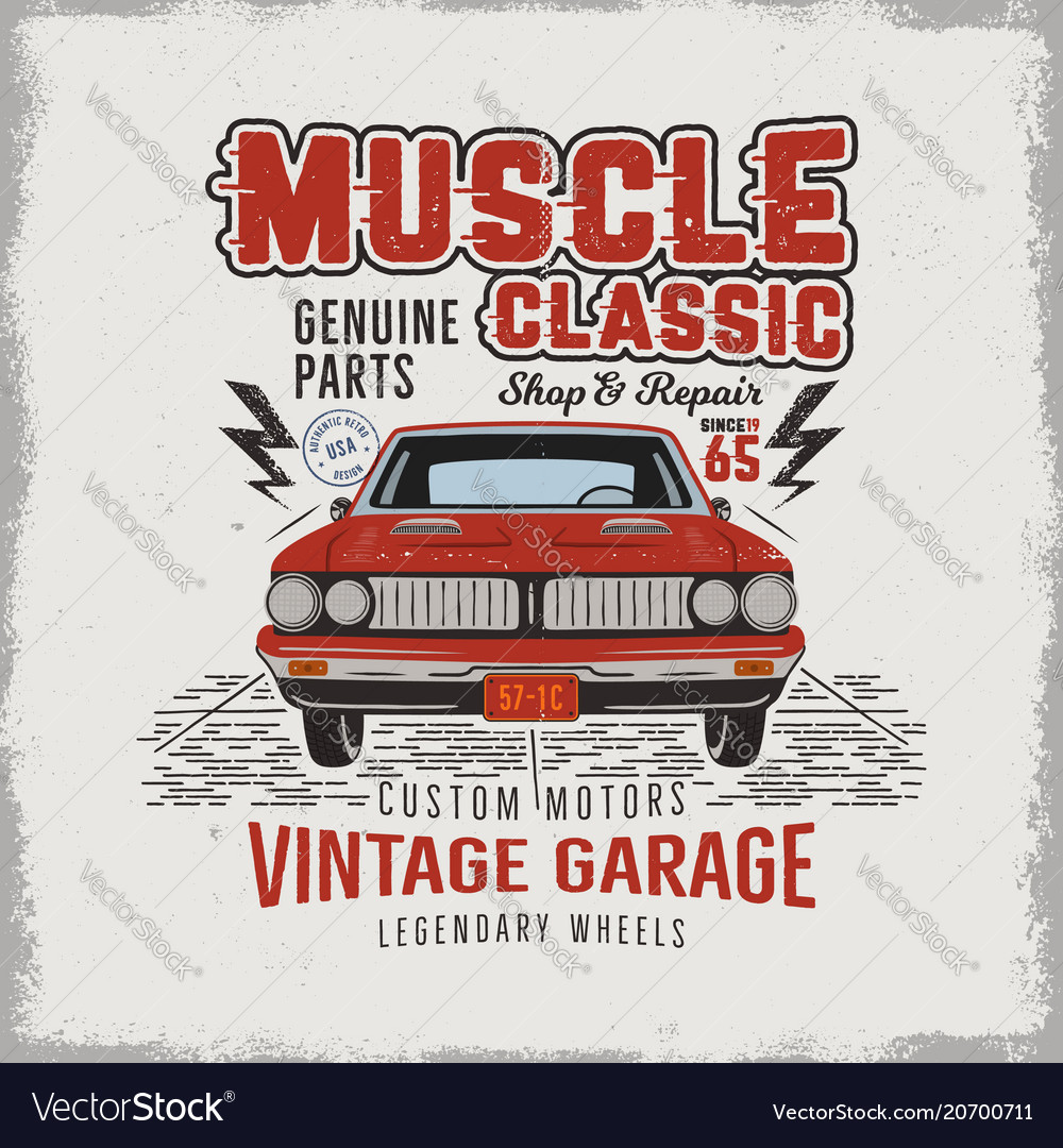 Vintage Hand Drawn Classic Muscle Car T Shirt Vector Image
