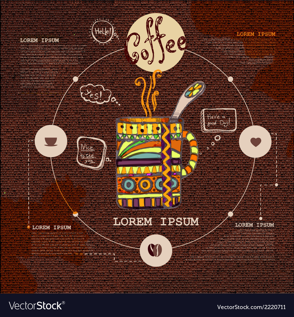 Web site design Decorative cup of coffee vector image