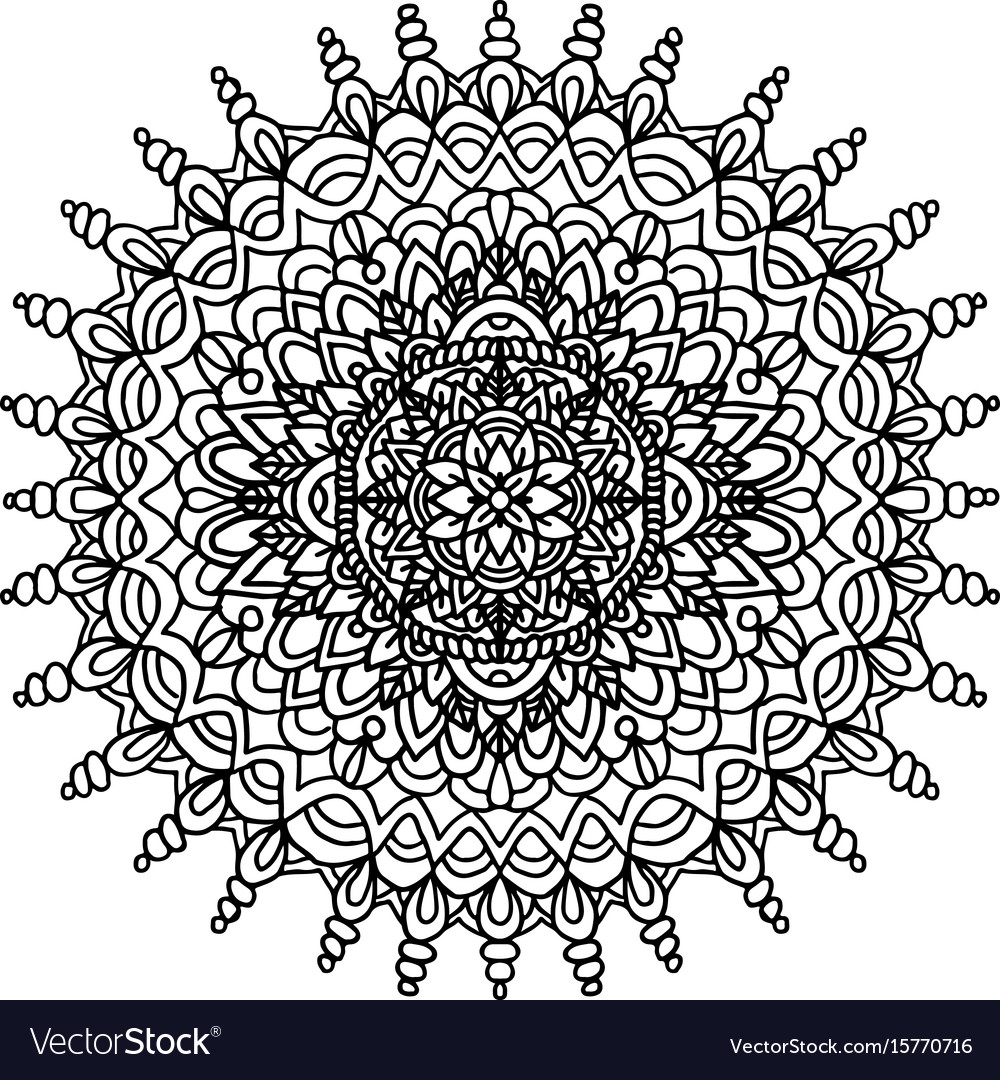 Abstract mandala ornament for adult coloring books