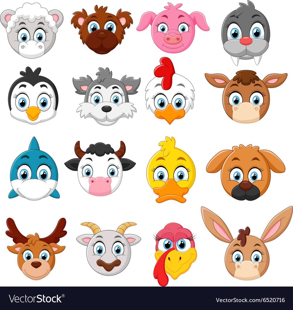 Cartoon animal head collection set vector image