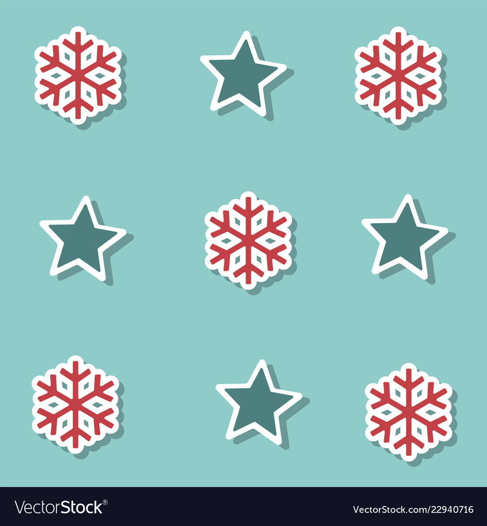 Christmas stars and snow collection background for