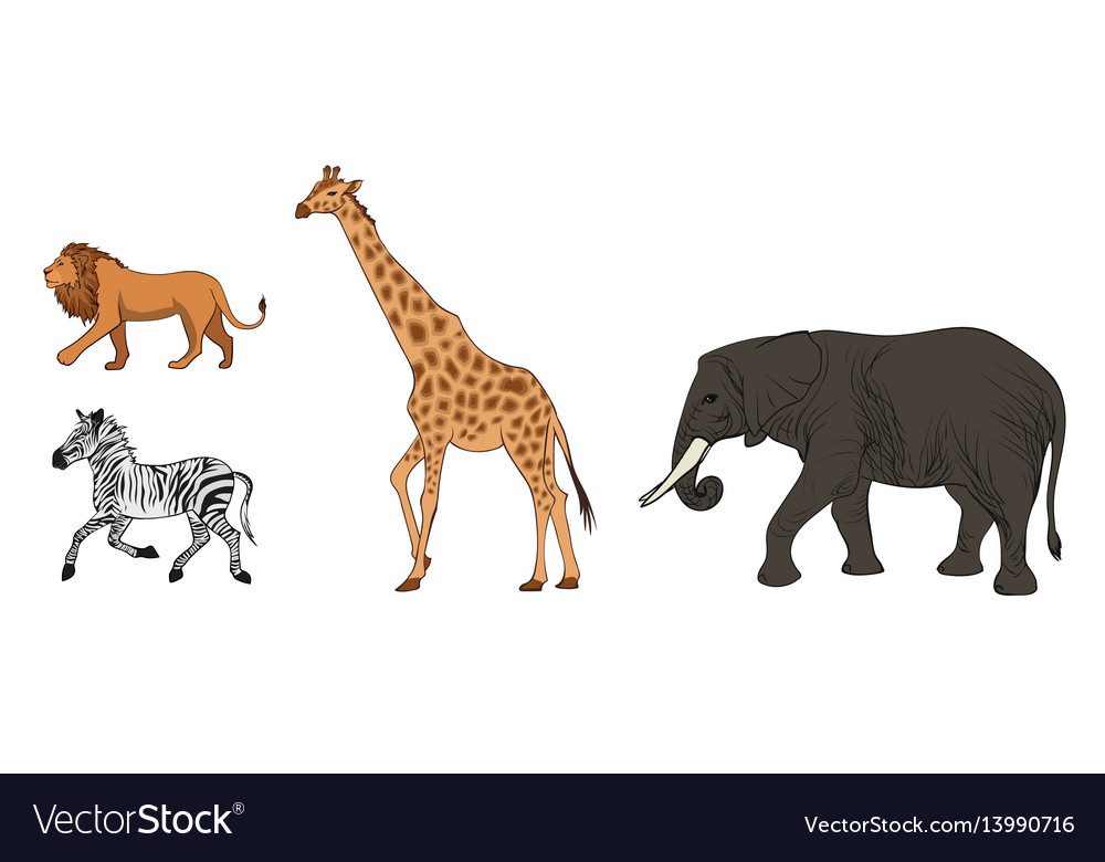 Colorful african wild animals set vector image