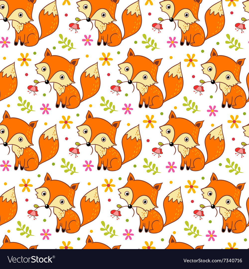 Cute background with cartoon fox and flowers
