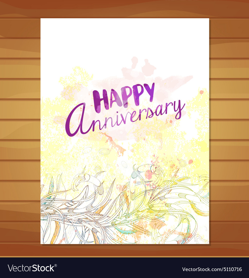 Happy anniversary card Watercolor flower vector image