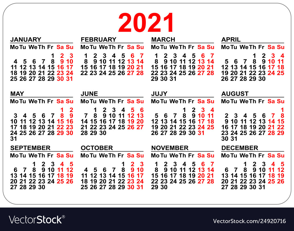2021 Pocket Calendar Printable Pocket calendar 2021 grid template isolated on Vector Image