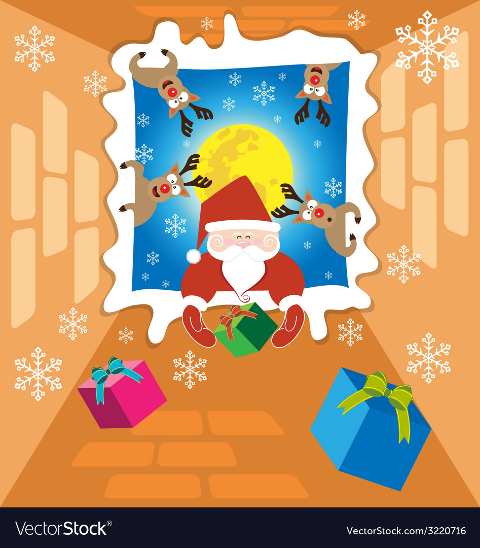 Santa claus and Reindeer send gifts on christmas Vector Image