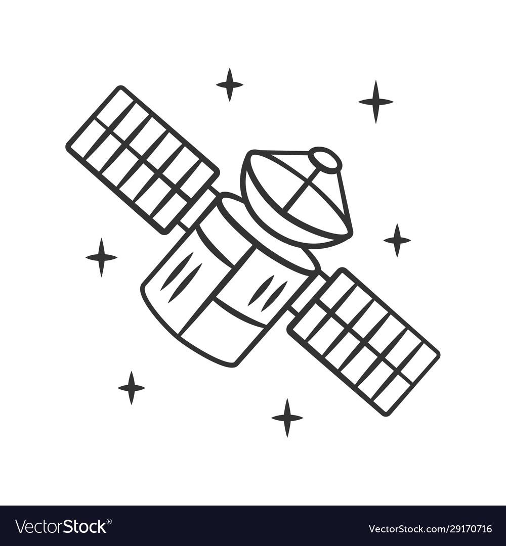Satellite linear icon sputnik artificial object
