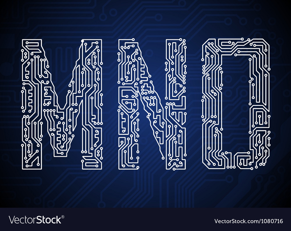 Set of Circuit board style letters Royalty Free Vector Image