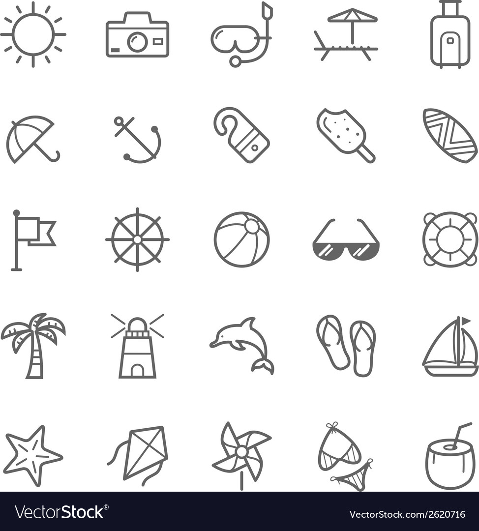 Set of Outline stroke Beach icons