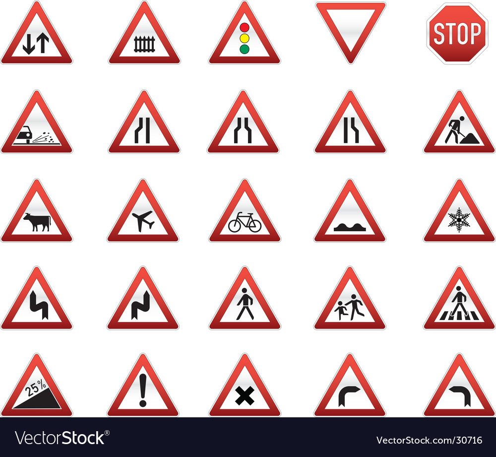 Triangle Road Signs >> Traffic Signs Icon Set Royalty Free Vector Image