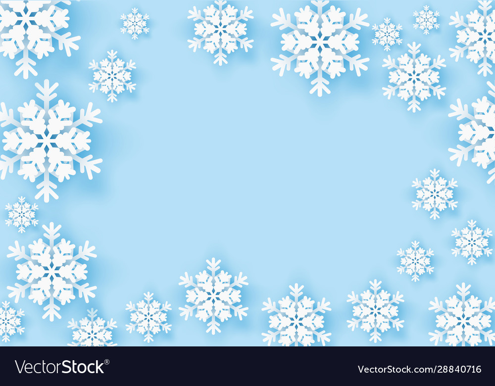 Winter snowflake greeting banner with blue