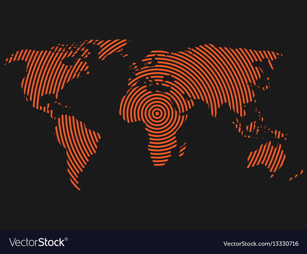 World map of orange concentric rings on dark grey vector image gumiabroncs Images