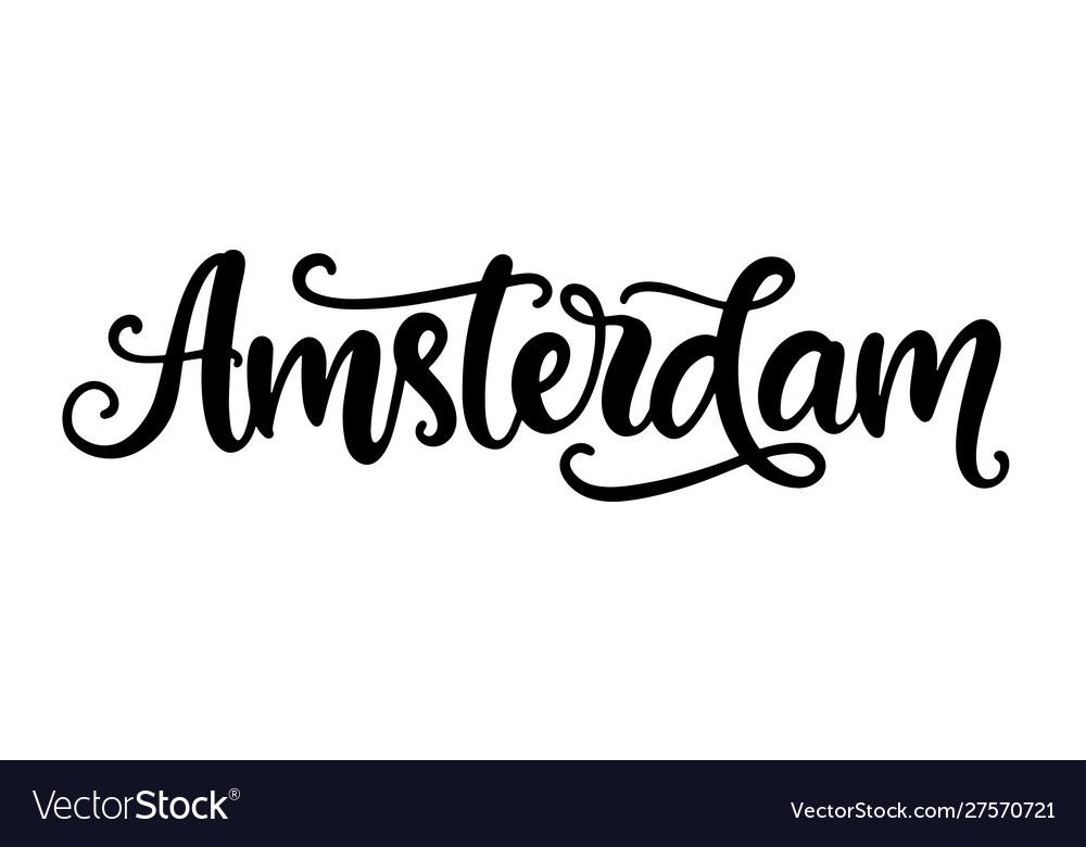 Amsterdam city hand written brush lettering