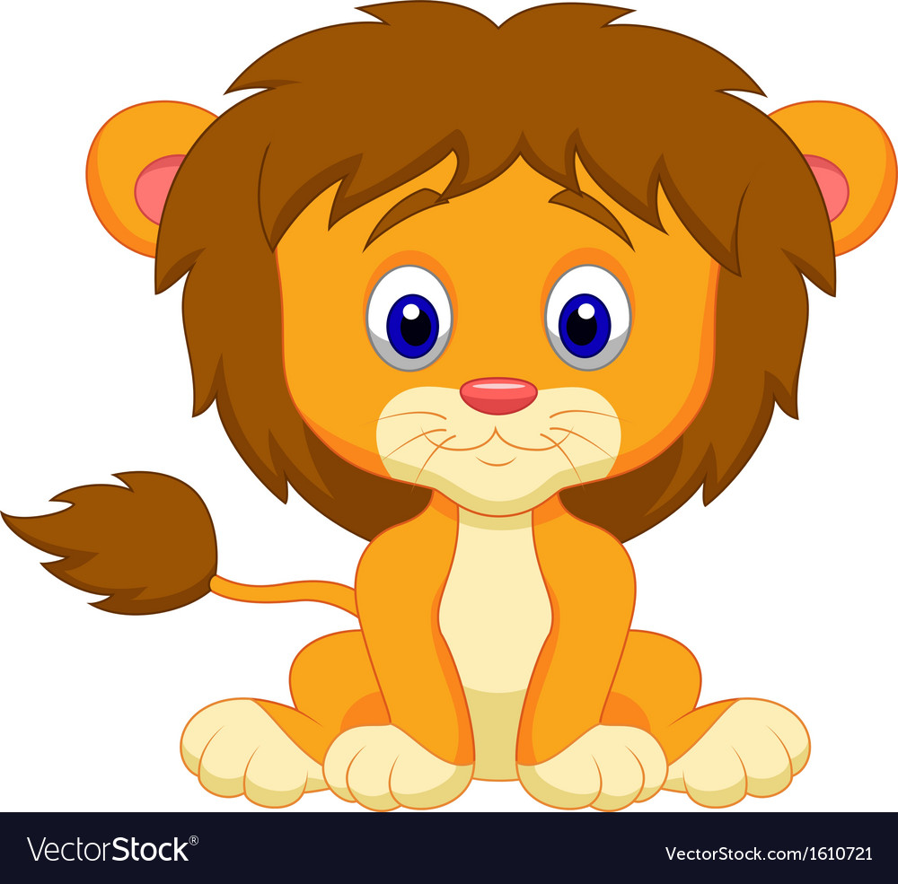 baby lion cartoon sitting royalty free vector image rh vectorstock com lion cartoon images sea lion cartoon pictures