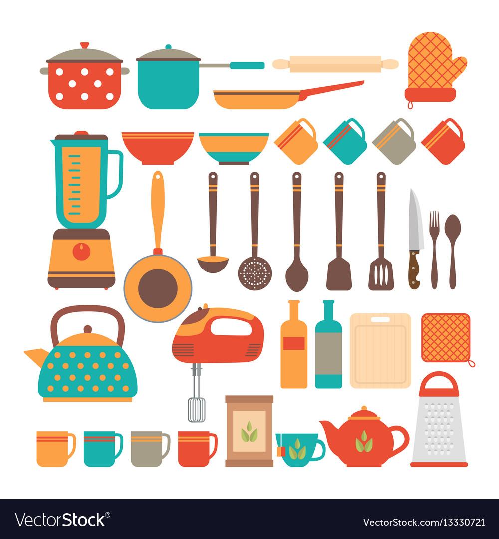 Big set of kitchen utensils home appliances for