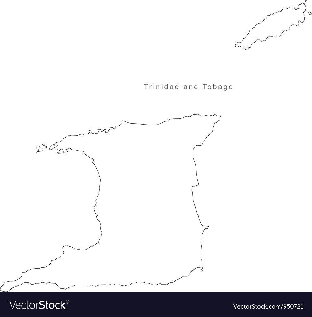 Black White Trinidad and Tobago Outline Map vector image