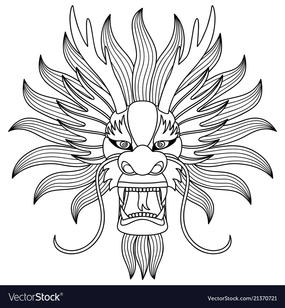 Chinese Dragon Head Tattoo Royalty Free Vector Image