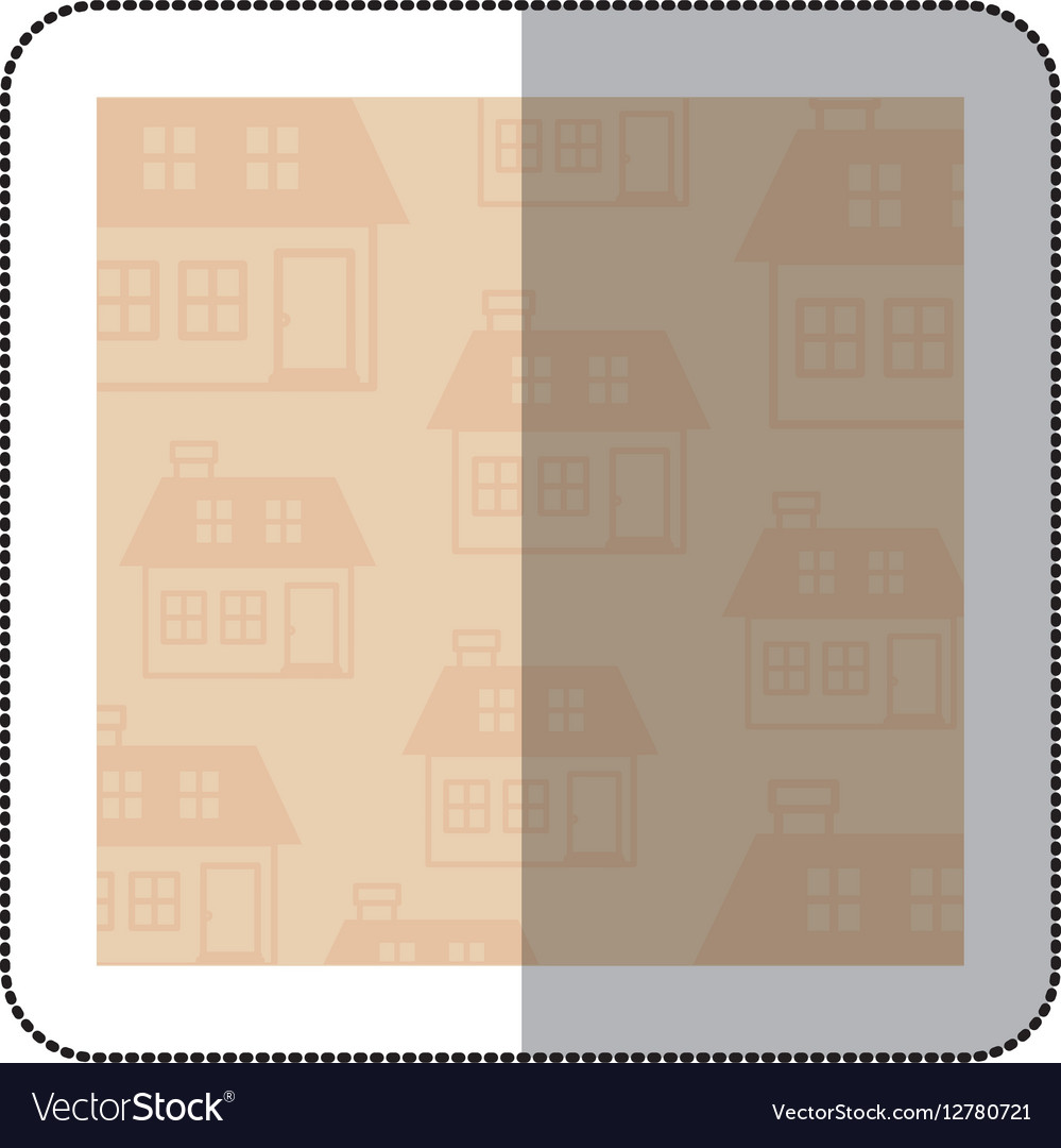 Color middle shadow sticker with square with vector image