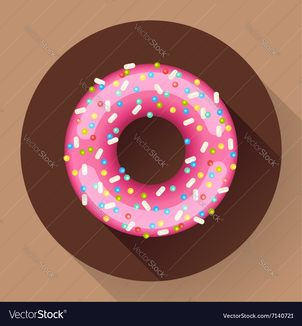 Cute sweet colorful donut icon Flat designed vector image