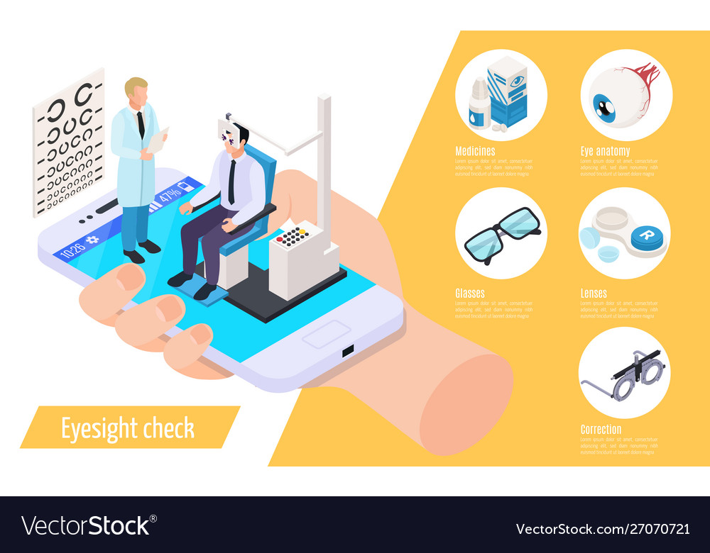 Eyesight check isometric composition