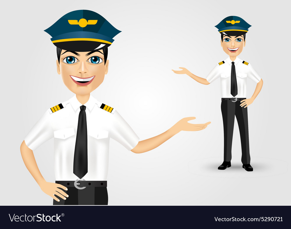 Friendly pilot showing something vector image