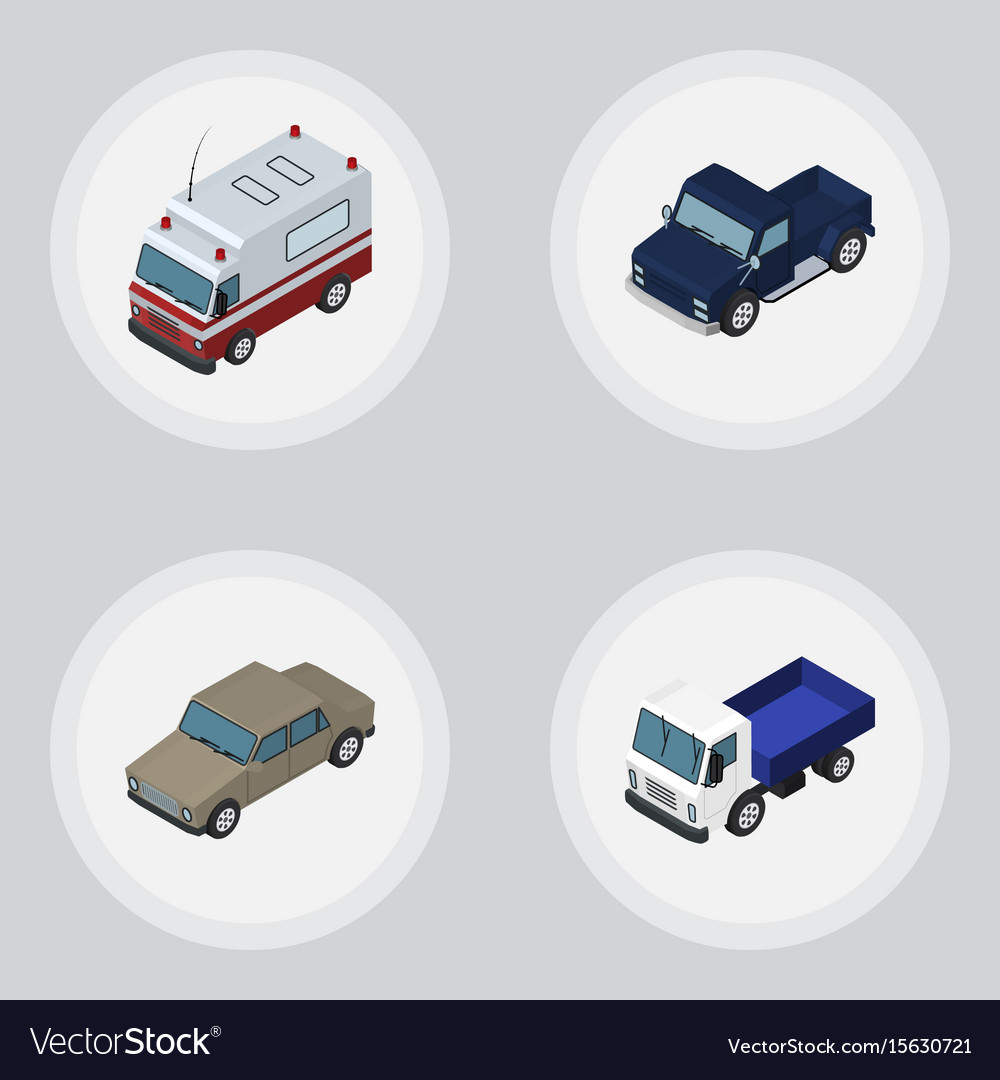Isometric automobile set of auto suv first-aid vector image