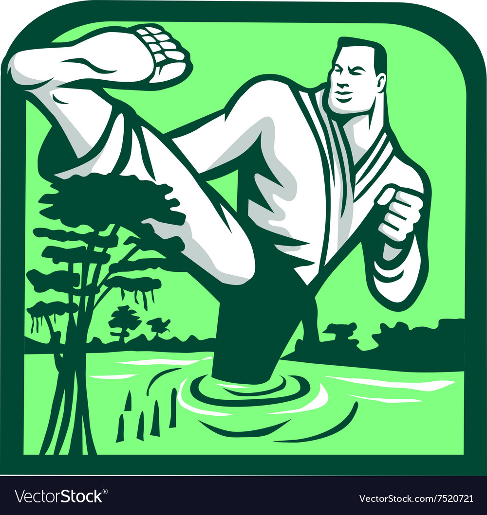 Martial Arts Fighter Kicking Cypress Tree Retro vector image
