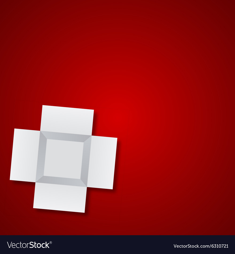 Modern open box on red background
