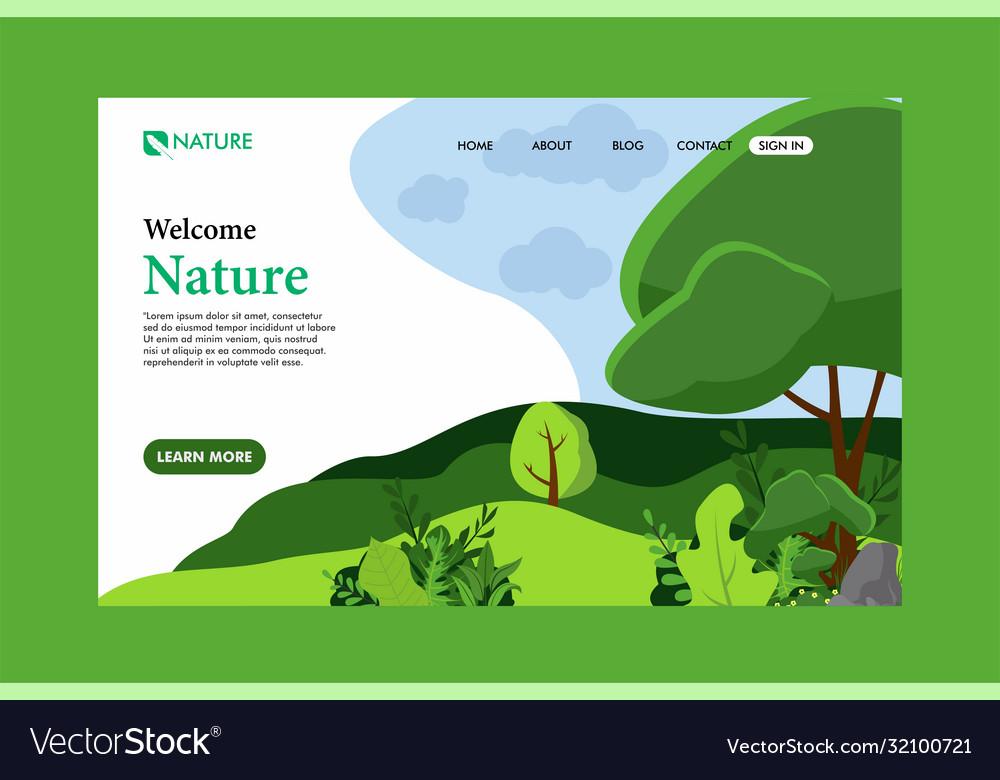 Nature landing page flat design nature