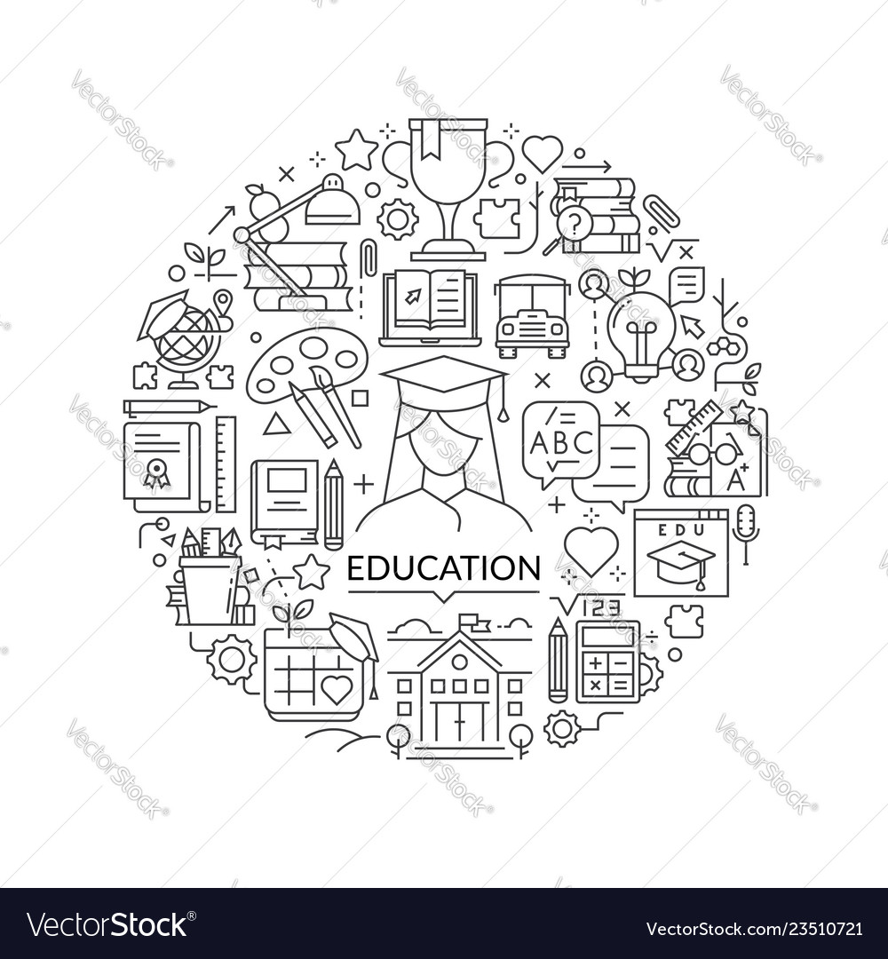 Round design element with education icons