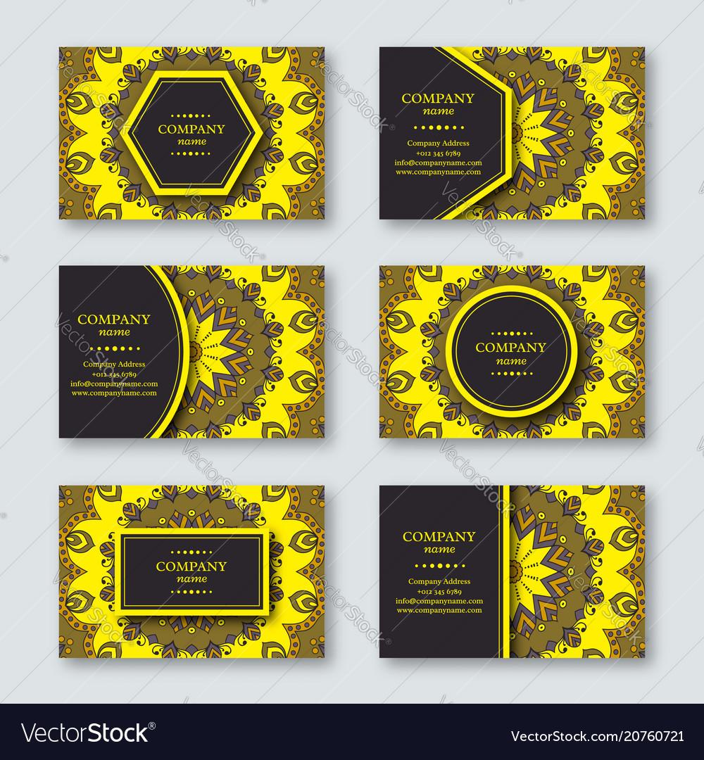 Set of ornamental hand drawn mandala cards