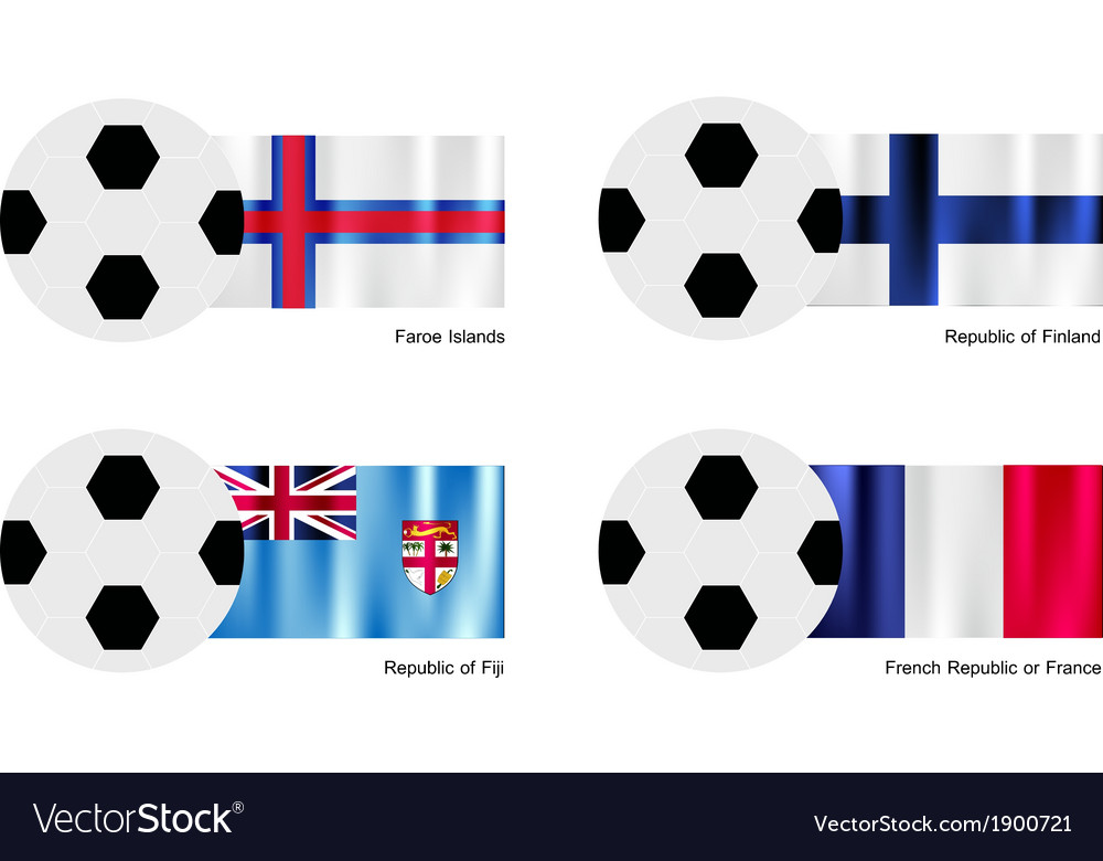 Soccer Ball with Faroe Islands Finland Fiji Flag vector image