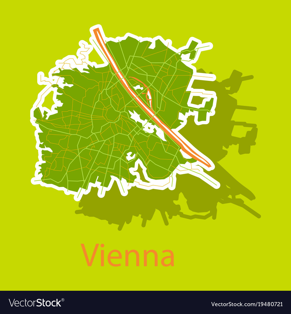 Sticker map of the city of vienna austria vector image gumiabroncs Choice Image