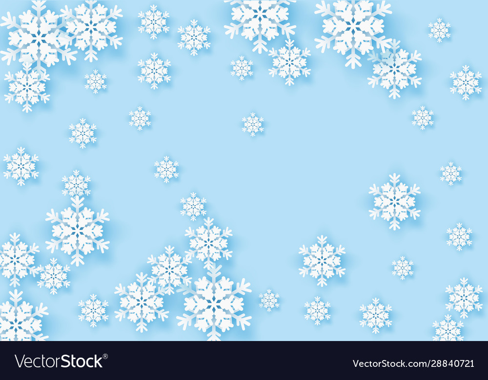 Winter origami snowflake greeting banner with blue