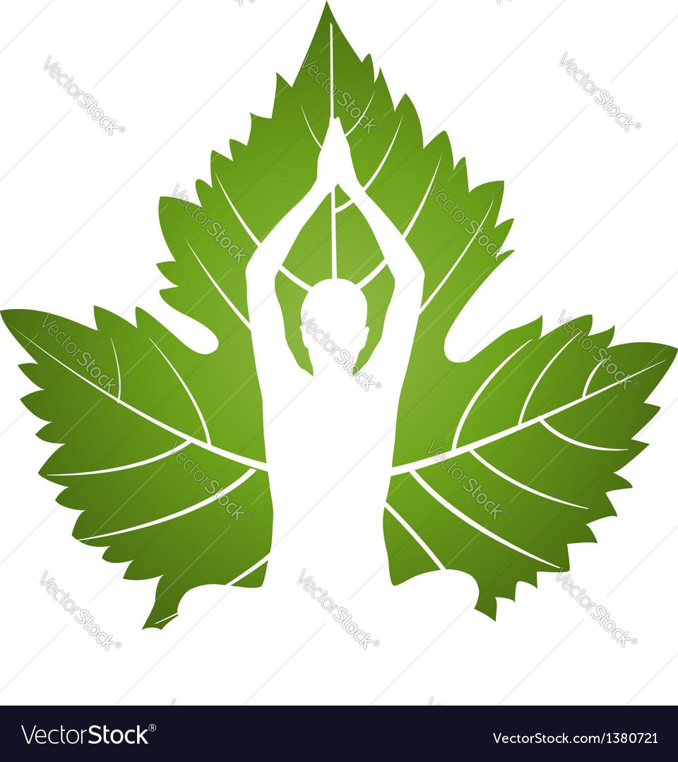 Yoga logo on green leaf