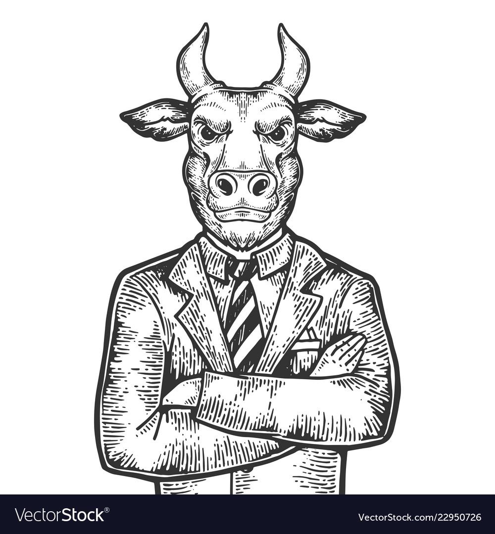 Bull businessman engraving