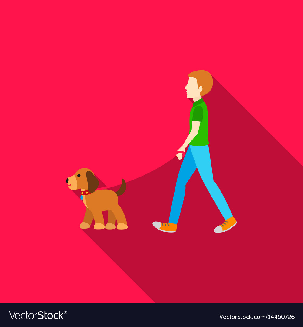 dog walk icon in flat style for web royalty free vector vectorstock