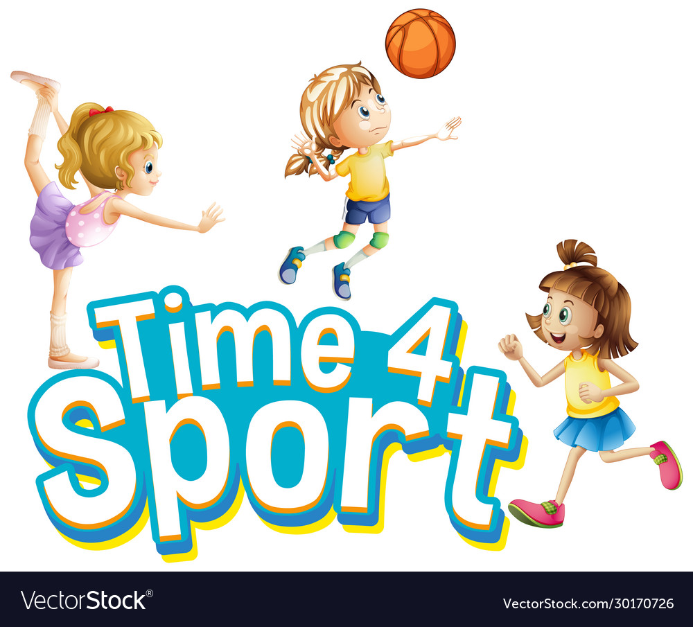 Font design for word time for sport with girls