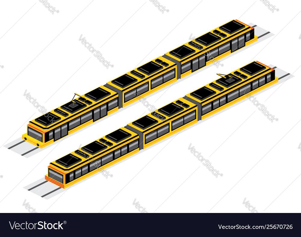 Isometric tram isolated on white railway