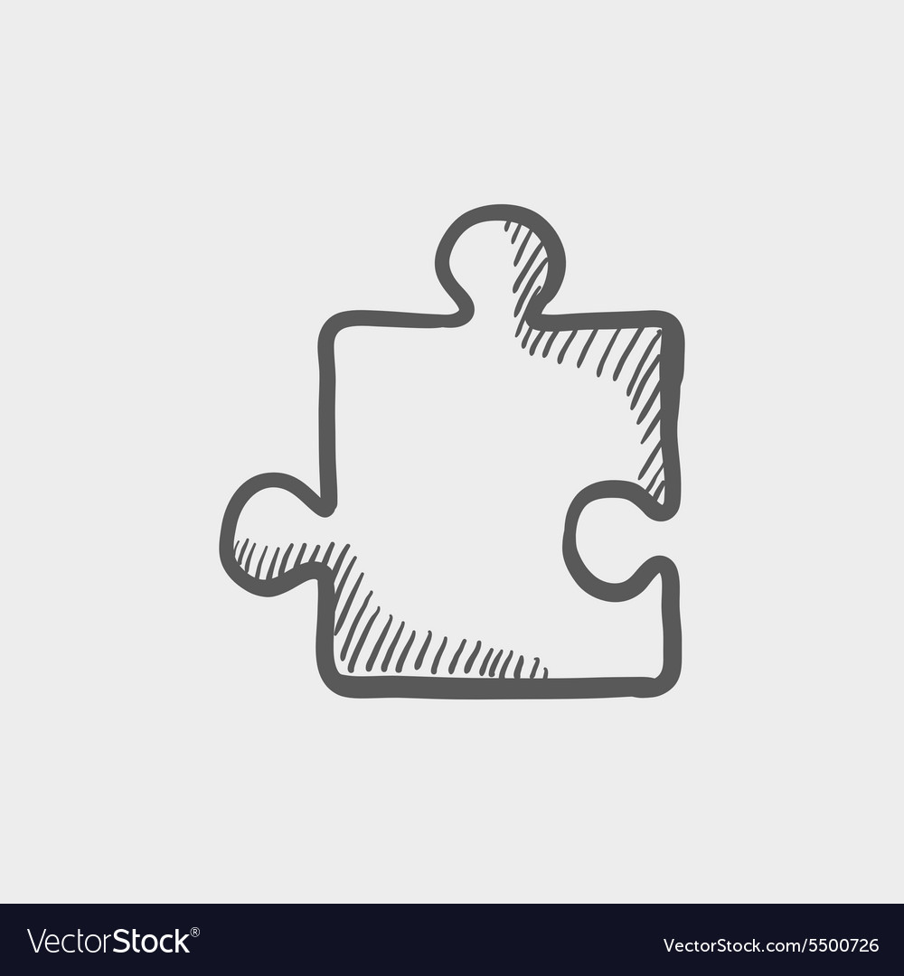 Jigsaw puzzle sketch icon