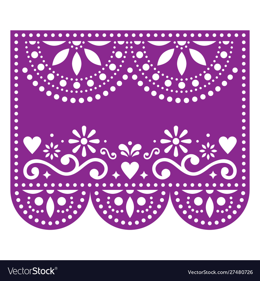 Papel picado template with no text floral