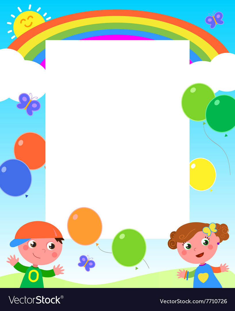 Rainbow kids and balloons frame Royalty Free Vector Image