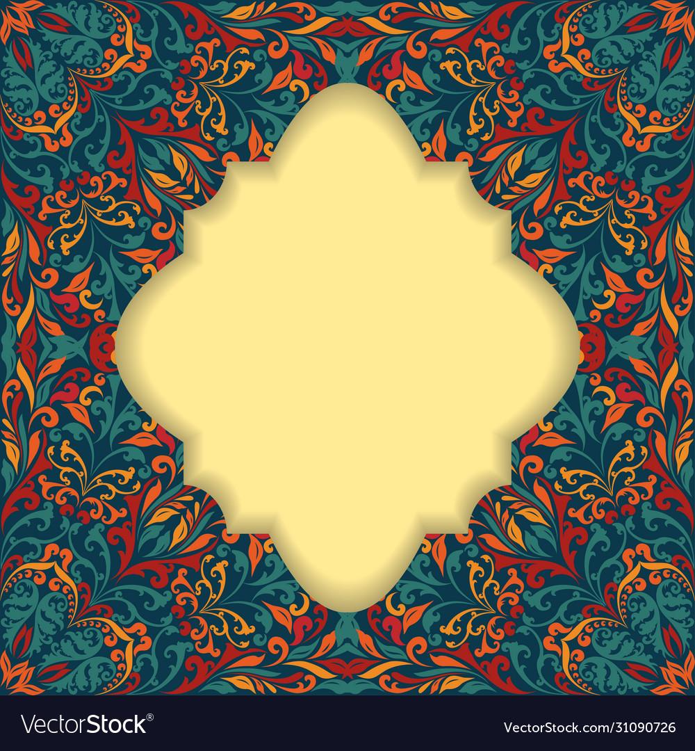 Retro boho floral frame three