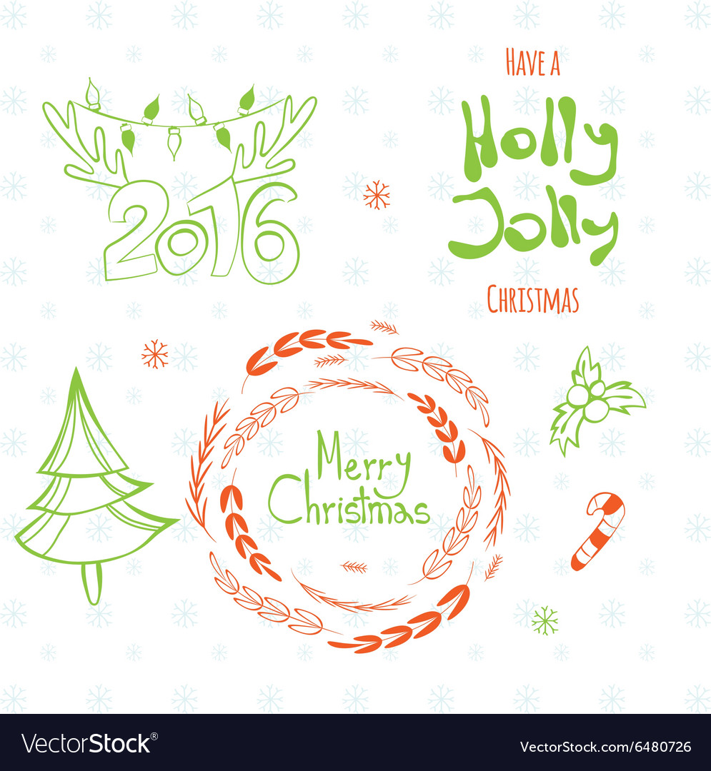 Set of graphic Christmas tags