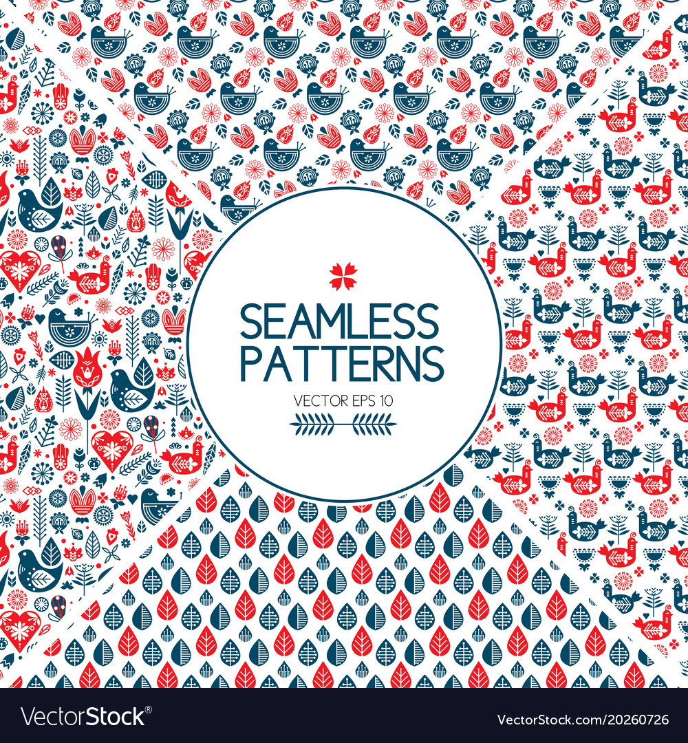 Set of seamless pattern graphic elements