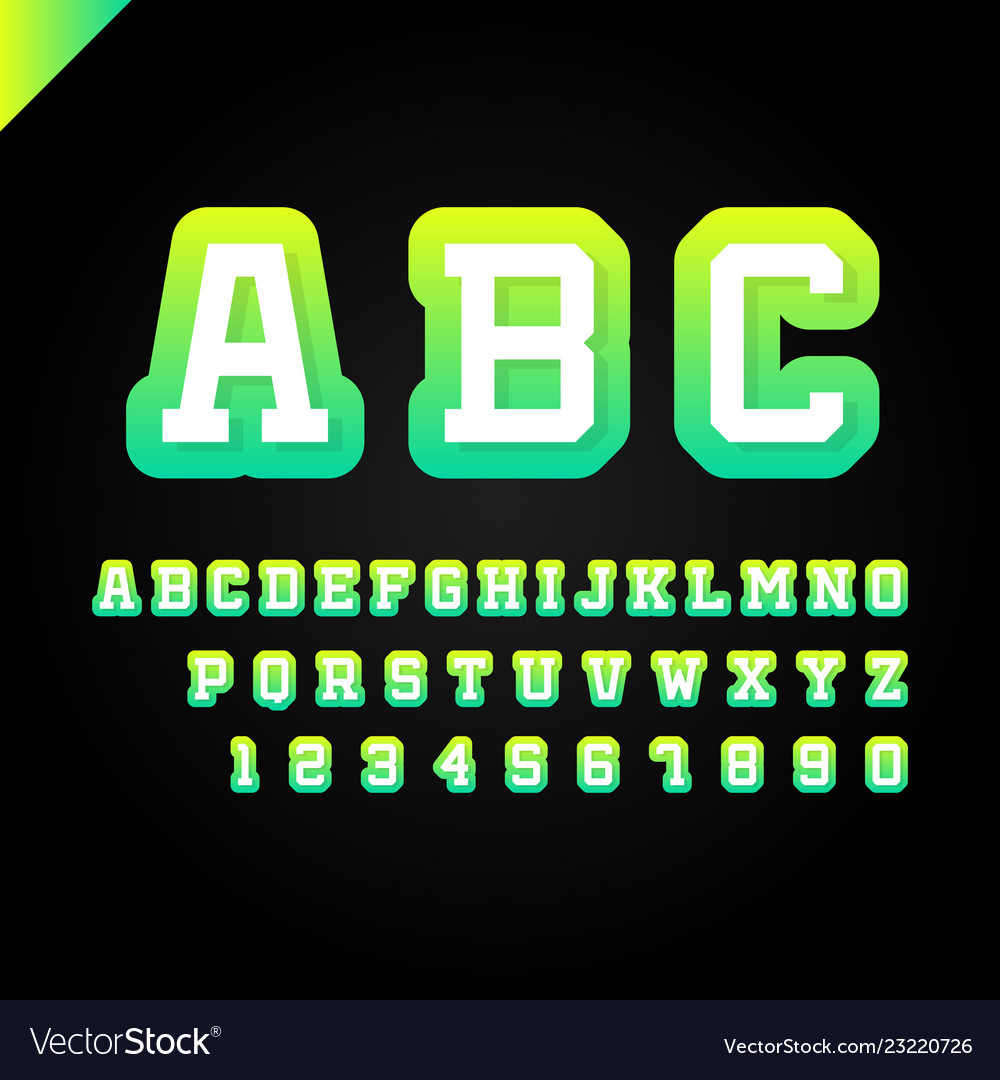 Sport font alphabet with latin letters and numbers