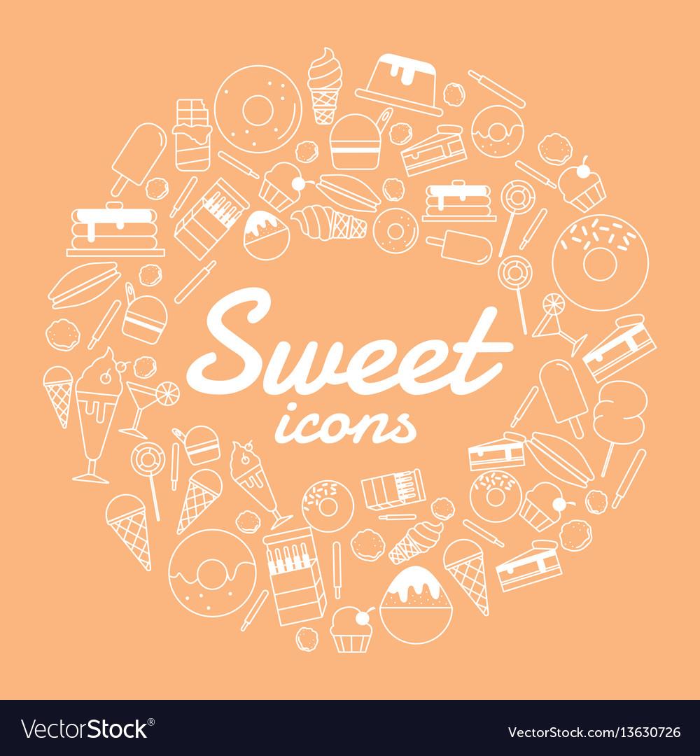 Sweet icon set on orange background